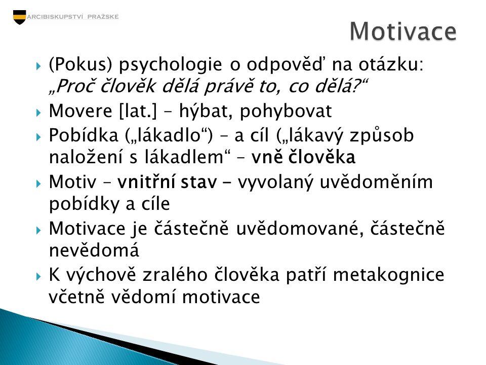 """Motivace (Pokus) psychologie o odpověď na otázku: """"Proč člověk dělá právě to, co dělá Movere [lat.] – hýbat, pohybovat."""